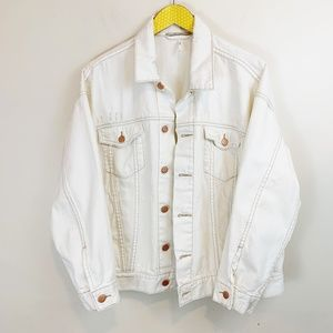 Free People Oversize Trucker Jean Distress Jacket